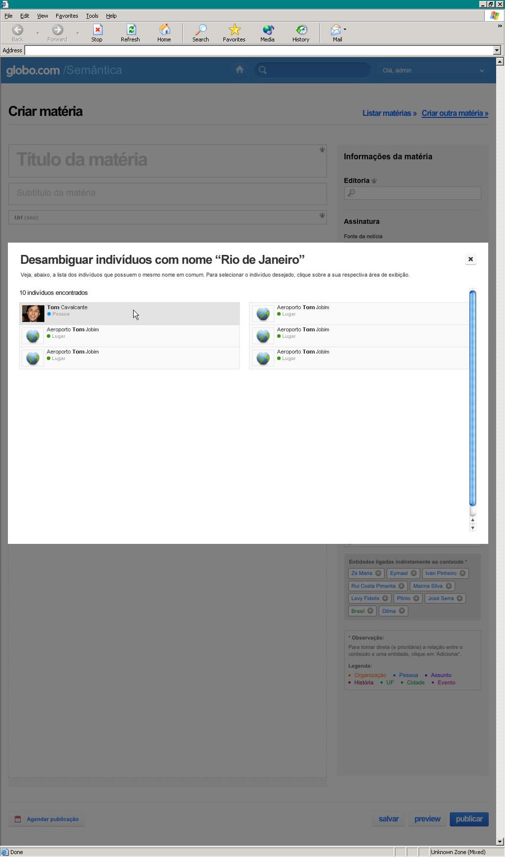Globo.com's entity extractor tool