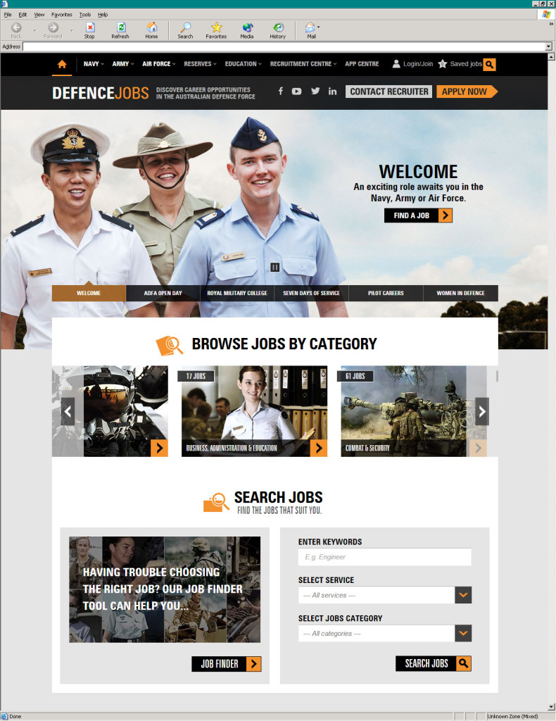 Defence Jobs' global home page