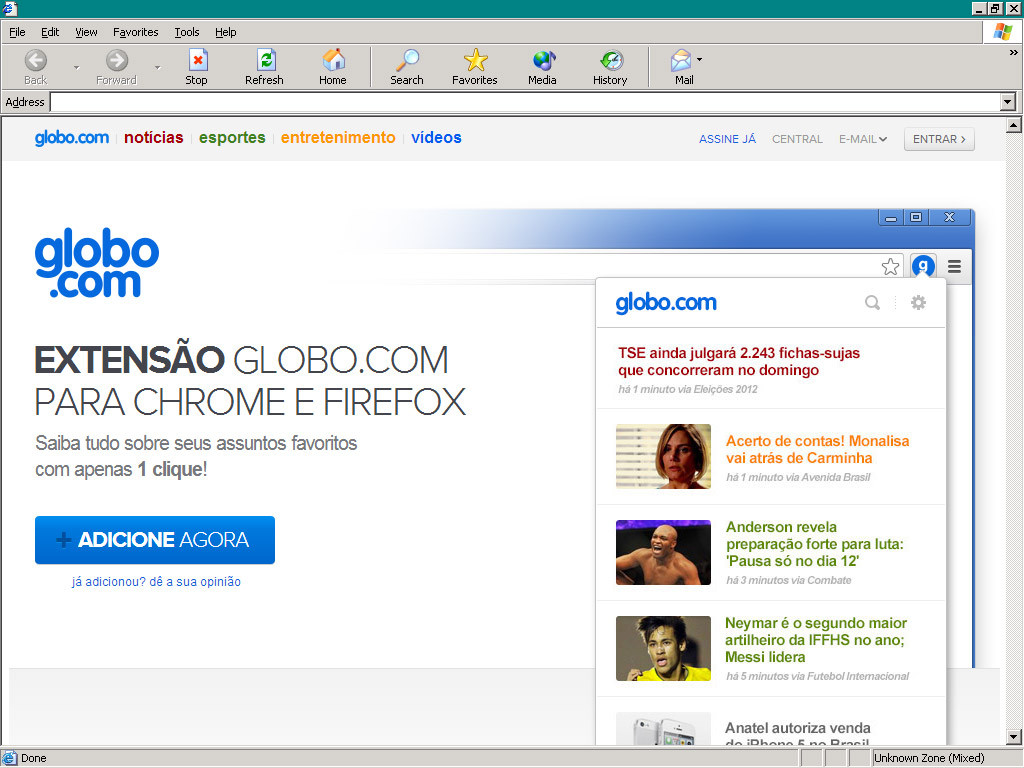 Globo.com's extension for Chrome and Firefox