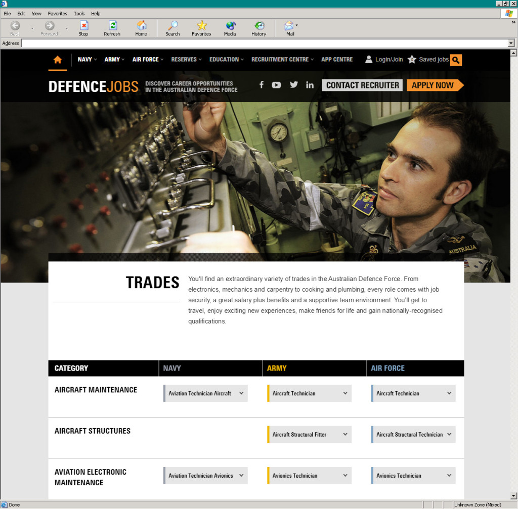 Defence Jobs' global category and search results pages