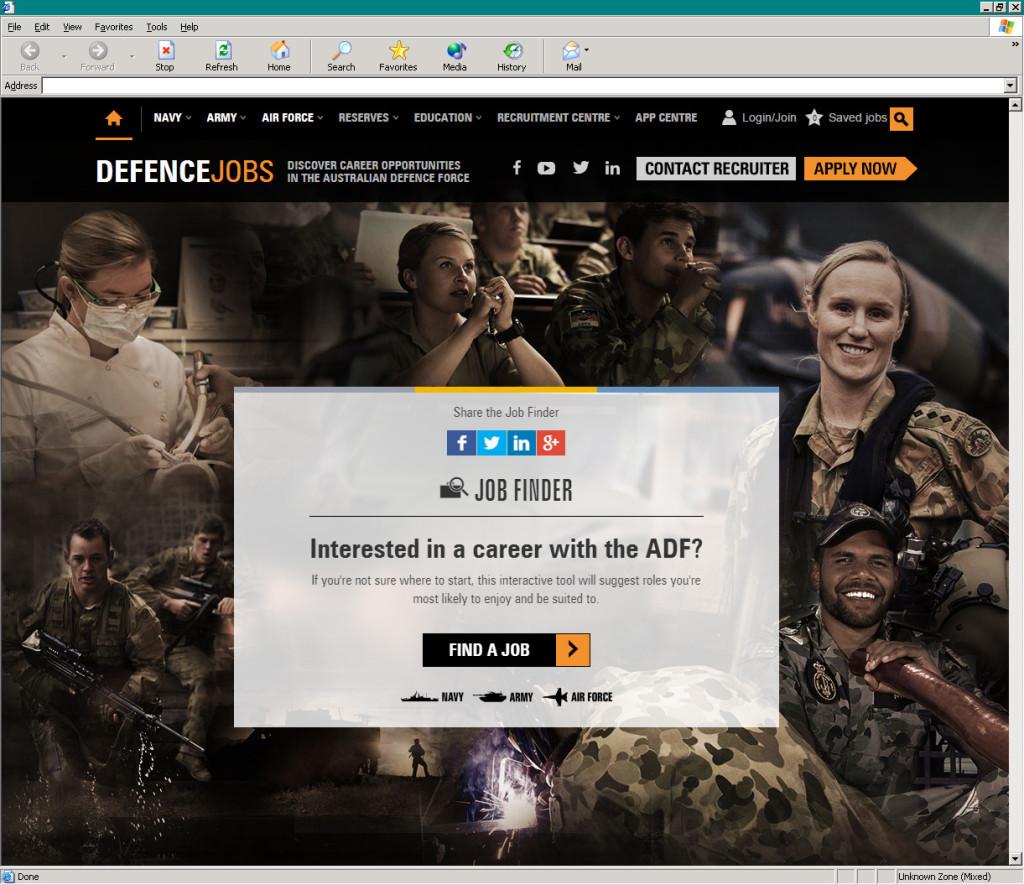 Defence Jobs' job finder tool