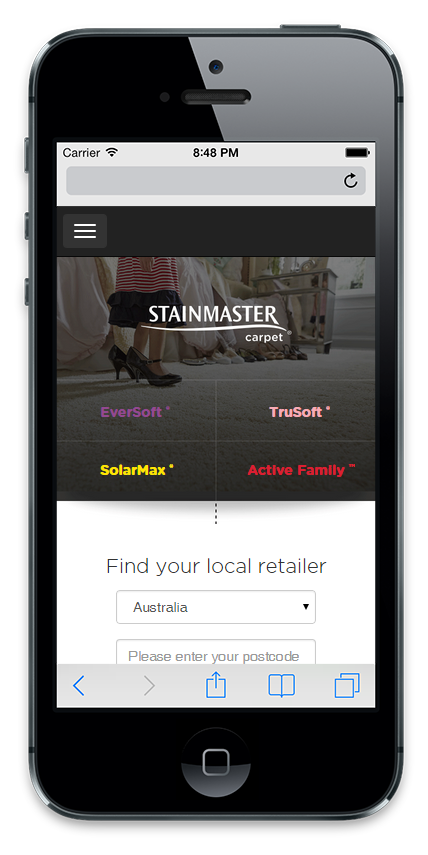 Stainmaster's mobile website