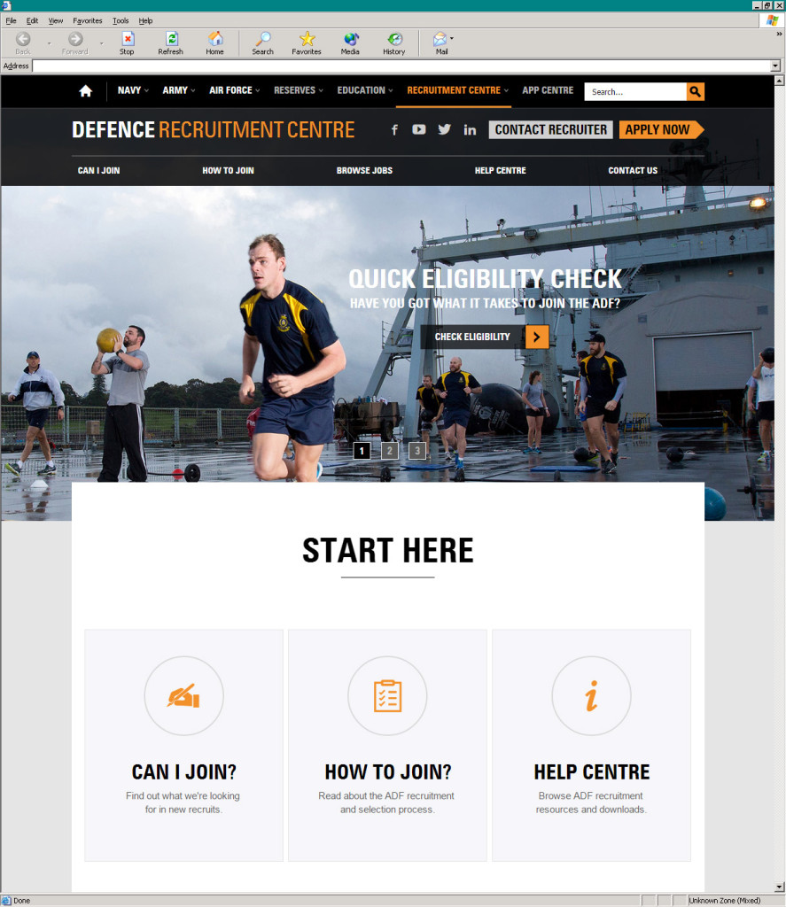 Defence Jobs' Recruitment Centre section